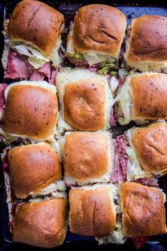Sheet Pan Corned Beef Sliders - Climbing Grier Mountain Corned Beef Sandwich, Sausage Sandwiches, Cold Sandwiches, Corned Beef Recipes, Turkey Sandwiches, Meat Recipes, Yummy Recipes, Sauteed Cabbage, Cooked Cabbage