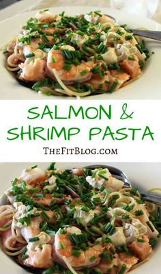 This is a very easy dish that looks impressive and taste great. Shrimp are almost pure protein, so by combining them with the healthy fat from the salmon, and the carbs from the whole wheat pasta, you get a very balanced and nutritious meal