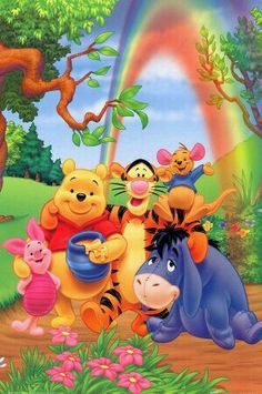 Turma do Pooh na floresta