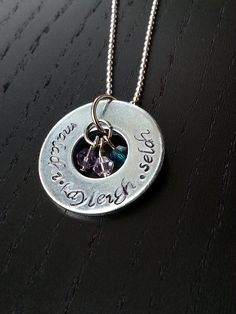 "Kids names and birth stones: custom hand stamped washer pendant on 18"" silver ball chain - family necklace"