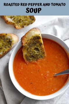 Roasted Red Pepper and Tomato Soup is a fast and rich weeknight comfort food perfect for dipping crusty bread or grilled cheese. Fall Soup Recipes, Healthy Soup Recipes, Vegan Recipes, Dinner Recipes, Chilli Recipes, Vegan Soups, Soap Recipes, Vegan Meals, Fish Recipes