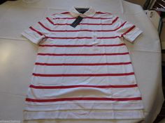 Men's Tommy Hilfiger Polo shirt stripe logo XL xlarge xlg 7854858 Ribbon Red 609 #TommyHilfiger #polo