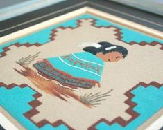 Cute southwestern sand painting set by Navajo artist Roseann Yazzie. Native American boy and girl in traditional dress in a desert landscape. Turquoise, brown, black and natural colored sand. Sand Painting, Colored Sand, Dry Goods, Paint Set, Traditional Dresses, Navajo, Nativity, Art Decor, Boy Or Girl