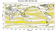 Monthly Wind Climatology:   This map shows the monthly average wind climatology for the indicated month of the year and pressure level, using the 1981-2010 climatological base period.
