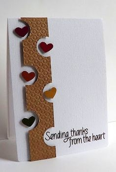 handmade card ... punch arty ... luv punched hearts in the space of the half circle punching on the embossed column ...