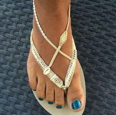 Plata y oro boda decorado Flip Flop sandalias planas tanga