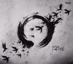 Ensō circle and birds