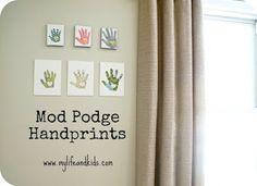 Mothers day craft for kids: handprint canvases. - Mod Podge RocksMod Podge Rocks