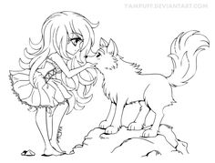 Chibi with Wolf - Lineart Commission by YamPuff.deviantart.com on @deviantART