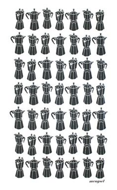 Moka Express ~ there are 49 moka pots on this cute little towel! That would keep anyone wake! :)
