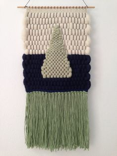Hand Woven Wall Hanging / Tapestry / Weaving // Light Mint Green, Navy, Cream Roving