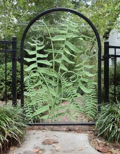 Fern gate, powder-coated steel, by Jim Gallucci