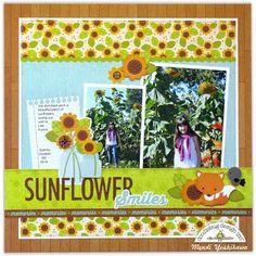 Doodlebug Design Flea Market Fall Sunflower Scrapbook Layout by Mendi Yoshikawa