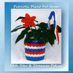 Patriotic Plant Pot Cover with Star & Streamer Pokies SKU-0253  --  3.00