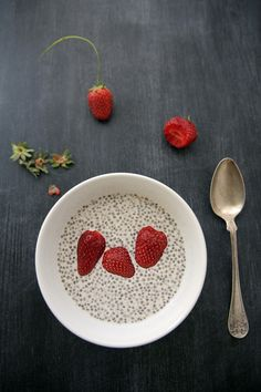 vanilla chia almond milk yogurt with fresh strawberries - the most beautifying breakfast.