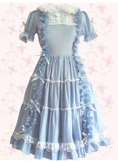 Sky Blue Short Sleeves Cotton Sweet Lolita Dress