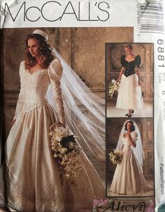 McCall's 6881 Sewing Pattern (Vintage) UNCUT by ANAPACLOTHING on Etsy Floral Wedding Gown, Fit And Flare Wedding Dress, Sweetheart Wedding Dress, Tea Length Wedding Dress, Tea Length Dresses, Classic Wedding Dress, Mermaid Wedding, Lace Mermaid, Bridal Gown