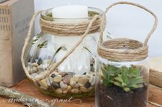 Things to Do with Glass Jars : DIY Recycling Projects Crafts With Glass Jars, Mason Jar Crafts, Mason Jars, Fall Lanterns, Glass Lanterns, Garden Lanterns, Homemade Lanterns, Diy Recycling, Recycling Projects
