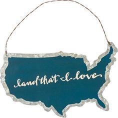 Primitives by Kathy Land That I Love USA Small Metal Hanging Sign. Can also be used as a Large Ornament. Measures x 8 inches Product Features Land That I Love USA Shape Small Hanging Sign or Large Ornament Tin Sign Measures x 8 inches Primitive Homes, Christmas Travel, Metal Hangers, Halloween Haunted Houses, Patriotic Decorations, Tin Signs, Meaningful Gifts, Hanging Signs, Black Decor