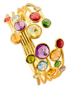 #MARCOBICEGO JAIPUR COLOR FIVE STRAND BANGLE IN 18KT GOLD WITH A MIX OF SEMI PRECIOUS COLORED STONES. #WoodrowJewelers