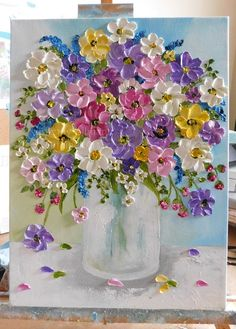 Custom Wildflower Oil Impasto Painting, Impressionistic Oil Floral Painting Oil impasto wildflower painting to make your home feel like summer! Small Paintings, Beautiful Paintings, Floral Paintings, Paintings Of Flowers, Vase Of Flowers Painting, Drawing Flowers, Painted Flowers, Art Floral, Tulip Painting