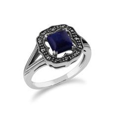 Show details for 925 Sterling Silver 0.58ct Lapis Lazuli & Marcasite Art Deco Ring