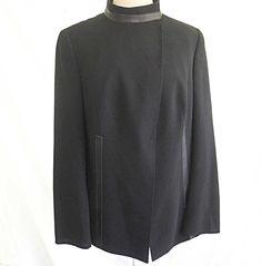 Akris Long Jacket Blazer Trophy Black Deadstock Nos New Old Stock Wool Leather Trim Short Coat 14 by backtocapri on Etsy https://www.etsy.com/listing/226283117/akris-long-jacket-blazer-trophy-black