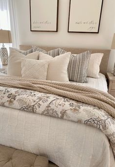 How To Make Your Bed Look Fluffy In 5 Easy Steps | She Gave It A Go Bedroom Bed, Guest Bedrooms, Dream Bedroom, Home Decor Bedroom, Master Bedrooms, Master Bedroom Makeover, Cozy Master Bedroom Ideas, Farmhouse Master Bedroom, Make Your Bed