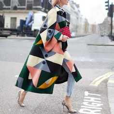 Fashion Geometry Printed Colorful Loose Woolen Long Coat , Fashion Geometry Printed Colorful Loose Woolen Long Coat , Style inspiration Source by knotowear Fashion Week, Look Fashion, Winter Fashion, Trendy Fashion, Latest Fashion, Fashion Terms, Crazy Fashion, Fashion Coat, Feminine Fashion