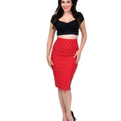 Red & Black Polka Dot High Waist Pencil Skirt