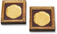 Two English 9 karat gold small prize plates, Richard Comyns, London, retailed by Lowe & Sons, Chester, dated 1971