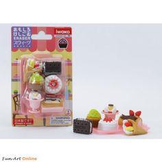 Iwako UK: Dessert Cakes Parfait Japanese Erasers Blister Card Iwako Kawaii Erasers