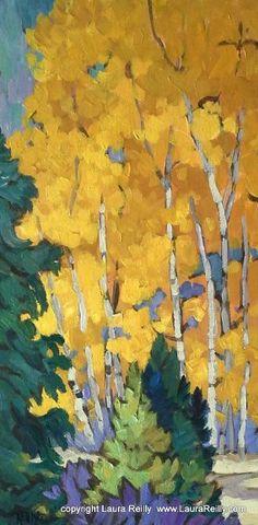 "Contemporary Artists of Colorado: Colorful Colorado Aspen Tree Painting, ""Aspen Awakening"", by Contemporary Colorado Artist Laura Reilly"