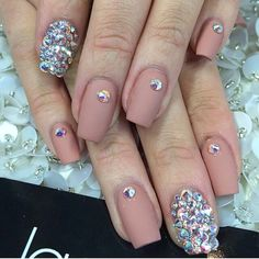 Matte nude and Swarovski crystals false nails set 10g nail glue included on Etsy, $18.00