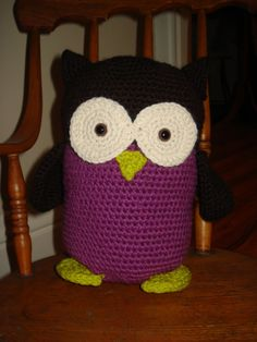 Pink and Black Crocheted Owl