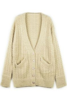 ROMWE | Retro Style Ribbed Nude Cardigan, The Latest Street Fashion #ROMWE