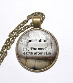 BEAUTIFUL WORDS Necklace, Petrichor, Art Pendant Necklace, Inspirational Necklace, Glass Pendant, Handmade Jewelry