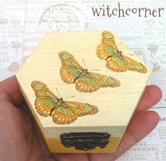 Wedding ring bearer box  Yellow butterflies  by witchcorner, $22.00