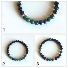 Wisdom and Grounding ~ Genuine Chrysocolla & Black Onyx Bracelets  ~ 6mm Beads ~ Choose from 3 Styles