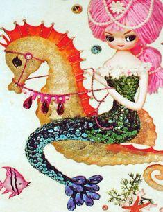 Vintage mermaid decal