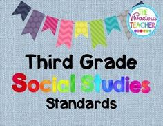 This pdf file includes Common Core Georgia Performance Standards posters for Third Grade Social Studies. These posters were designed in black and white so you can save your color ink! I print these posters on colored card stock and laminate so they are ready to hang in my classroom year after year. http://www.thevivaciousteacher.com