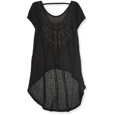 Aeropostale Sheer Crochet-Back Hi-Lo Tunic ($6.99) ❤ liked on Polyvore featuring tops, tunics, black, loose tunic, cut loose tops, loose tops, see through tops and sheer crochet top
