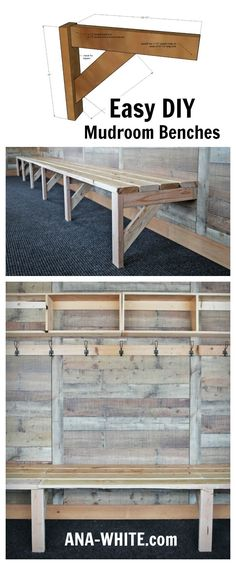 the easiest and cheapest mudroom benches you can make! #woodworkingideas