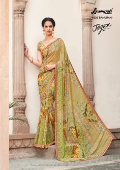 Browse this 👌 amusing multi colored #georgette_printed_saree along with #unstitched_blouse, #Bhagalpuri lace border online from www.laxmipati.com. We deliver all over the #World like #USA, #UK, #Canada, #Australia, #Dubai, #Malaysia, #Mauritius, #Pakistan, #Bangladesh, #Nepal, South Asia ... Ready to 🚢 Ship Fashionable #Georgette_Saree for Women 👩.  #Catalogue- JOGAN Design Number 4625 #Price: ₹1375.00 Laxmipati Sarees, Georgette Sarees, Pakistan Bangladesh, Lace Border, Printed Sarees, Designer Sarees, Daily Wear, Indian Dresses