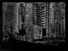 Matriz Perdida Invertida, série de 8 xilogravuras, 52 x 60 cm, 2010. Tales Bedeschi