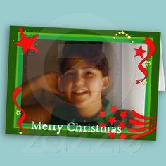Green & red photoholder greeting card