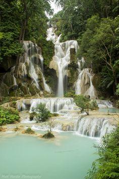 The Kuang Si Falls, is a three tier waterfall about 29 kilometres south of Luang Prabang in #Laos  Photo credit: Matt Hardie  #Miessence #CertifiedOrganic