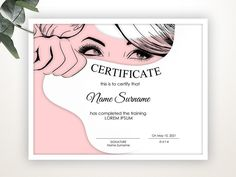 Certificate of Completion EDITABLE Certificate Certificate Certificate Background, Blank Certificate, Award Template, Certificate Design Template, Course Completion Certificate, Beauty Courses, Girly Phone Cases, Letterhead Template, Cool Business Cards