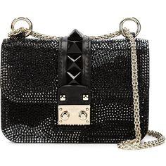 Valentino Garavani 'Glam Lock' glitter shoulder bag ($4,560) ❤ liked on Polyvore featuring bags, handbags, shoulder bags, black, black purse, black leather purse, black leather shoulder bag, black handbags and camo purse