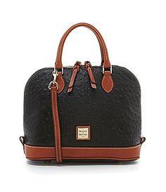 Dooney & Bourke Ostrich Zip Zip Satchel Handbag Black